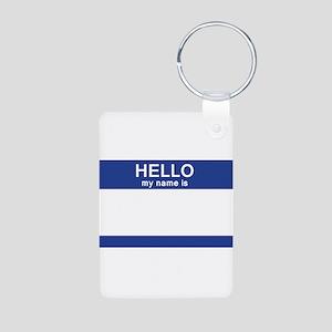 Hello my name is Blank Aluminum Photo Keychain