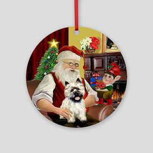 Santa's Cairn Terrier (#5) - Ornament (Round)