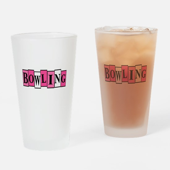 Pink and White Bowling Drinking Glass