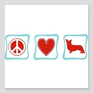"""PeaceLoveCorgisSquares Square Car Magnet 3"""" x"""