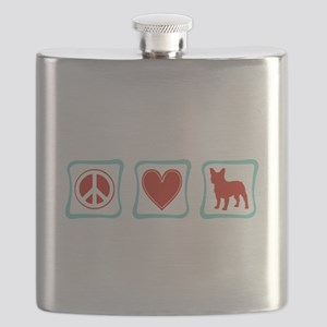 PeaceLoveFrenchBulldogsSquares Flask