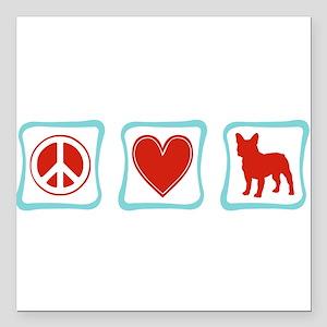 PeaceLoveFrenchBulldogsSquares Square Car Magn