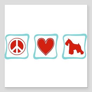 "PeaceLoveSchnauzerSquares Square Car Magnet 3"""