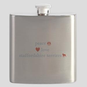 PeaceLoveStaffordshireTerriers Flask