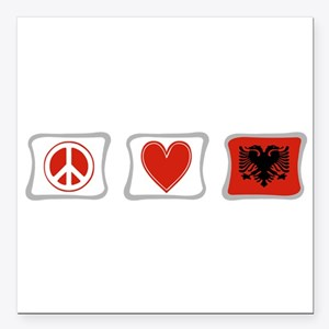 "PeaceLoveAlbaniaSquares.png Square Car Magnet 3"" x"