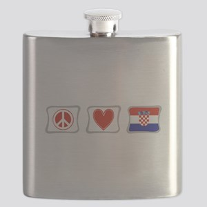 PeaceLoveCroatiaSquares Flask