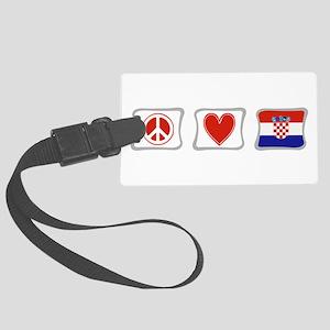 PeaceLoveCroatiaSquares Large Luggage Tag