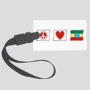 PeaceLoveEthiopiaSquares Large Luggage Tag