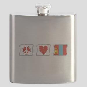 PeaceLoveMongoliaSquares Flask