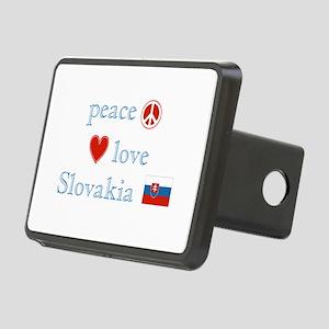 Peace Love Slovakia Rectangular Hitch Cover