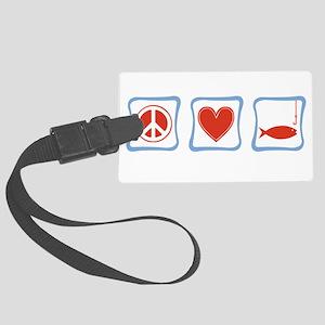 PeaceLoveFishingSquares Large Luggage Tag