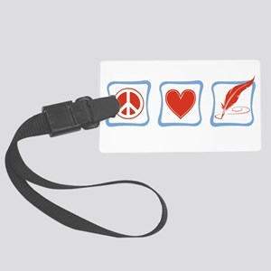 PeaceLoveWritersSquares Large Luggage Tag
