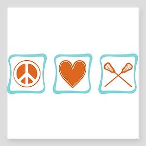 "PeaceLoveLacrosseSquares Square Car Magnet 3"""