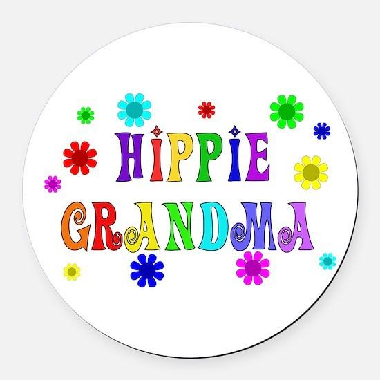 Hippie Grandma Round Car Magnet