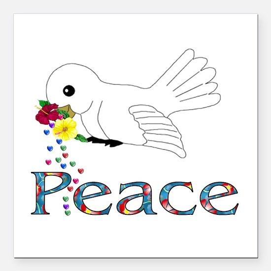 "Peace Bird Square Car Magnet 3"" x 3"""