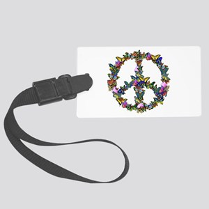 Butterflies Peace Sign Large Luggage Tag