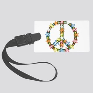 Peace Flowers Large Luggage Tag