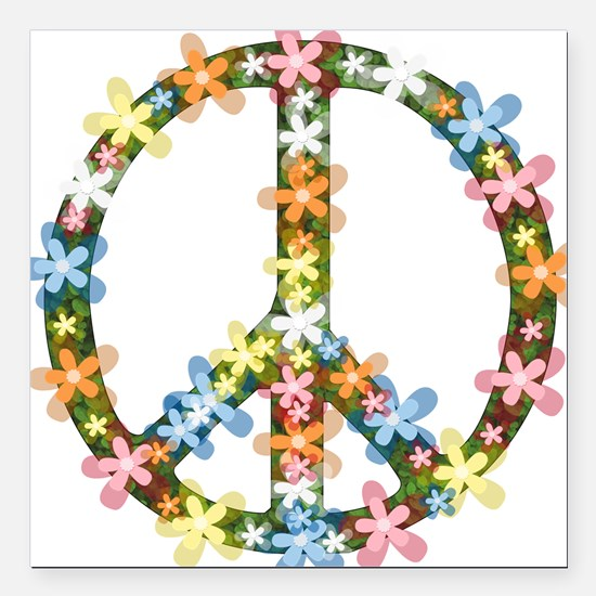 "Peace Flowers Square Car Magnet 3"" x 3"""