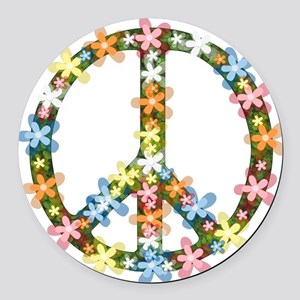 Peace Flowers Round Car Magnet