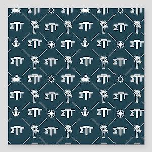 """Sigma Tau Gamma Pattern Blue Square Car Magnet 3"""""""