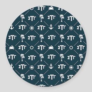 Sigma Tau Gamma Pattern Blue Round Car Magnet
