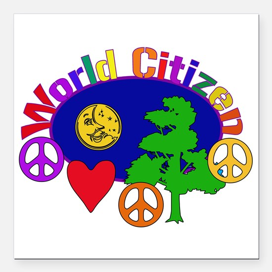 """worldcitizen01.png Square Car Magnet 3"""" x 3"""""""