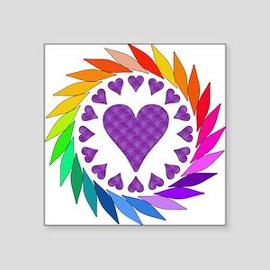 "rainbow_hearts01 Square Sticker 3"" x 3"""