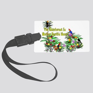 save_the_rainforest01 Large Luggage Tag