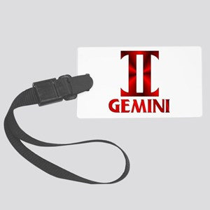 Red Gemini Astrological Symbol Large Luggage Tag