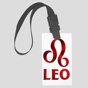 Red Leo Astrological Symbol Large Luggage Tag