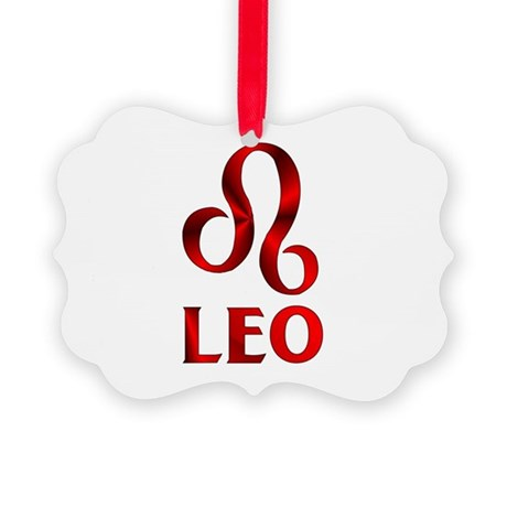 Red Leo Astrological Symbol Picture Ornament