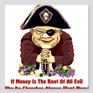 """pirate_churches01 Square Car Magnet 3"""" x 3"""""""