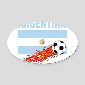 Argentina(blk) Oval Car Magnet