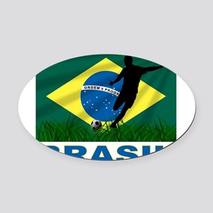 Brazil Oval Car Magnet
