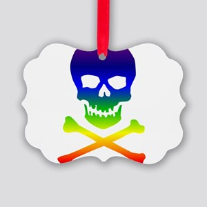 rainbowskull01a Picture Ornament