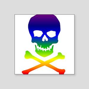 "rainbowskull01a Square Sticker 3"" x 3"""
