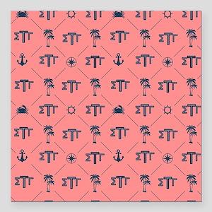 """Sigma Tau Gamma Pattern Coral Square Car Magnet 3"""""""
