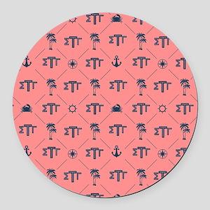 Sigma Tau Gamma Pattern Coral Round Car Magnet