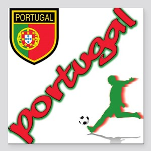 "portugal soccer(blk) Square Car Magnet 3"" x 3"""