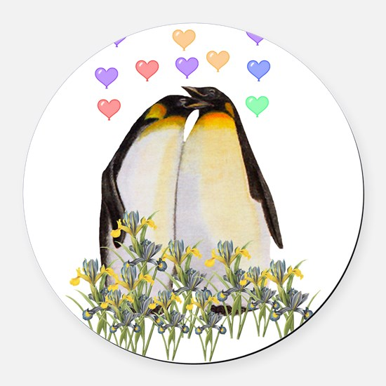 valentinepenguins01.png Round Car Magnet