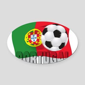Portugal(blk) Oval Car Magnet