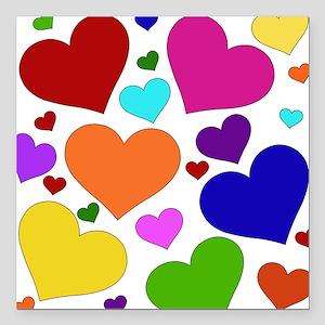 rainbow_hearts_valentine01 Square Car Magnet 3