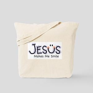 Jesus Makes Me Smile: Tote Bag