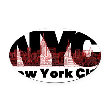 nyc.png Oval Car Magnet