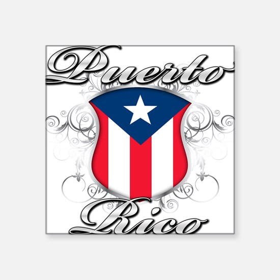 "PR shield.png Square Sticker 3"" x 3"""
