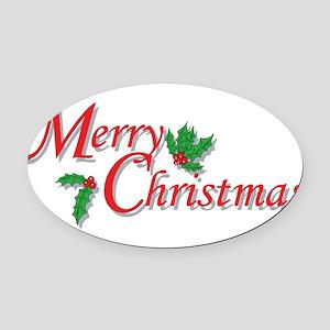 7-6-5-4-3-Merry Christmas T-Shirt Oval Car Mag
