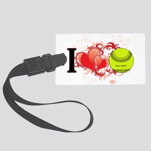 Girls Softball Large Luggage Tag