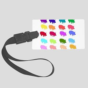 pigs_rainbow01 Large Luggage Tag