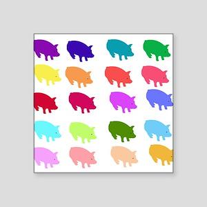 "pigs_rainbow01 Square Sticker 3"" x 3"""