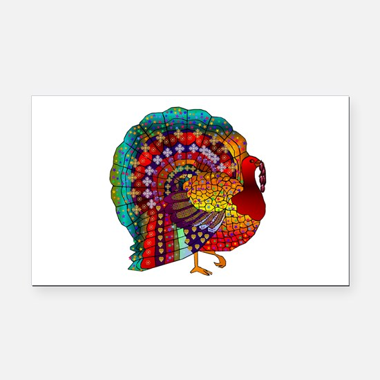 Thanksgiving Jeweled Turkey Rectangle Car Magnet